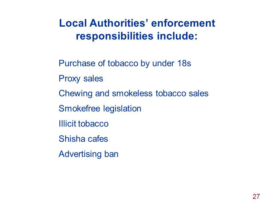 Local Authorities' enforcement responsibilities include: