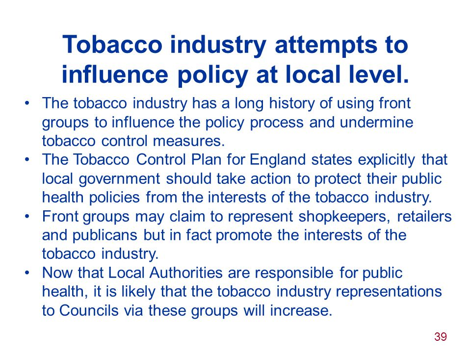 Tobacco industry attempts to influence policy at local level.