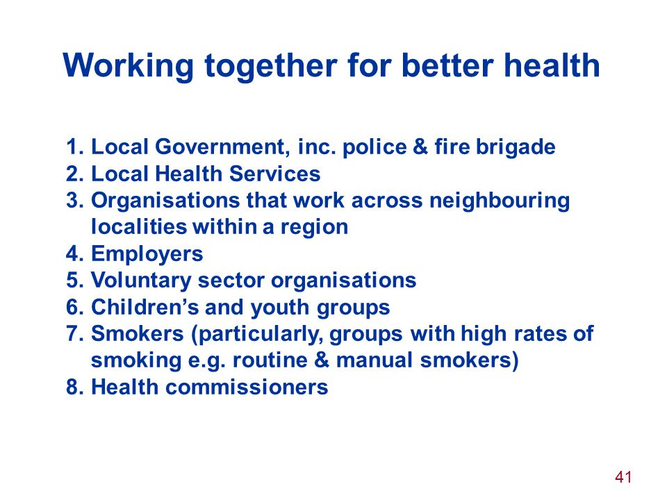 Working together for better health
