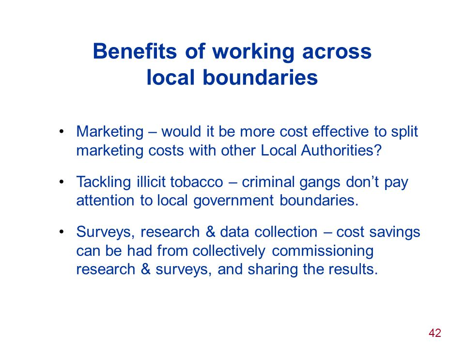 Benefits of working across local boundaries