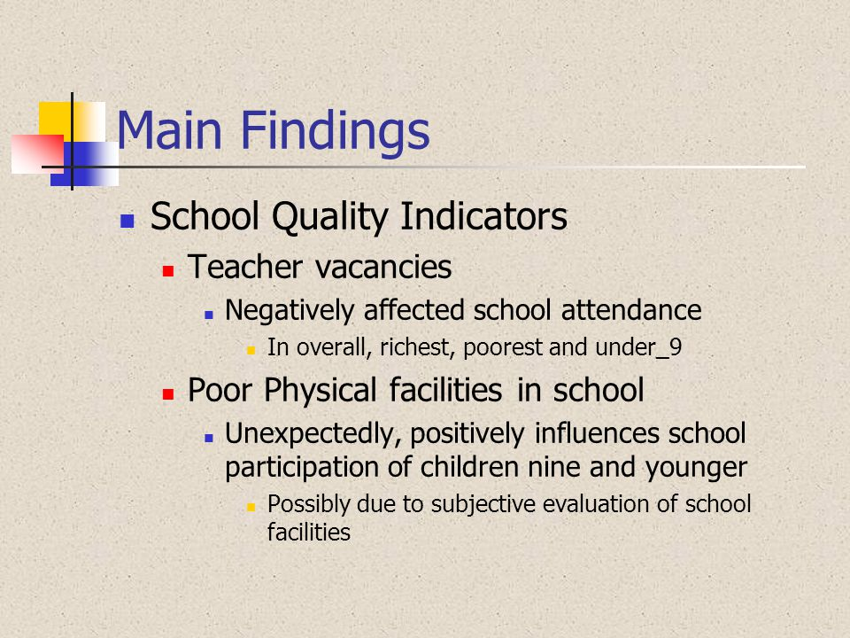 Main Findings School Quality Indicators Teacher vacancies