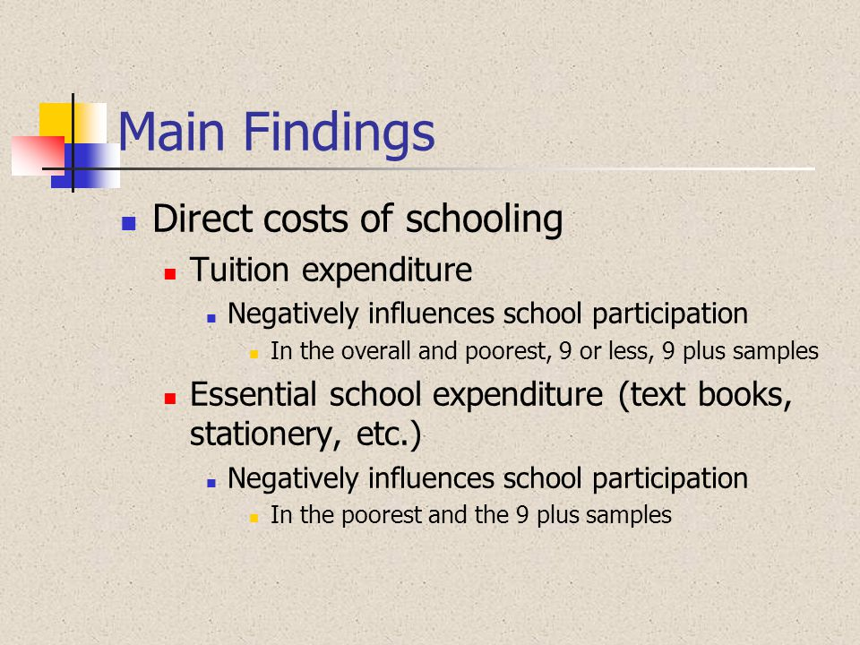 Main Findings Direct costs of schooling Tuition expenditure