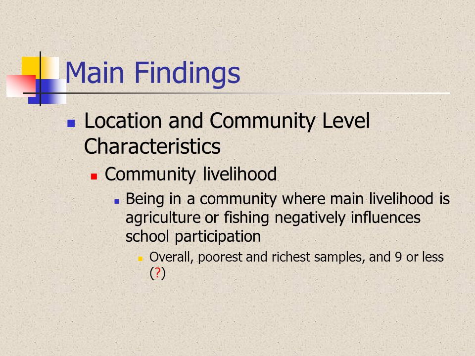 Main Findings Location and Community Level Characteristics