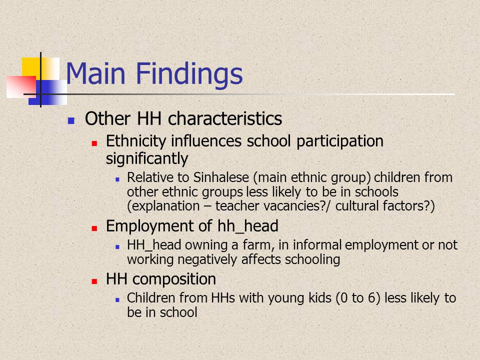 Main Findings Other HH characteristics