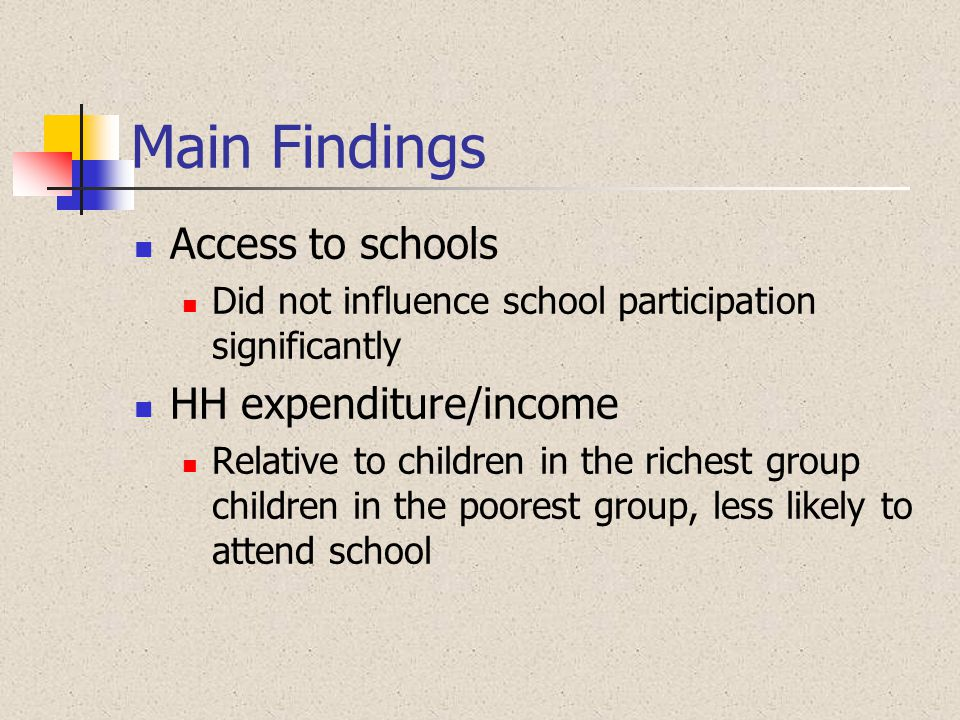 Main Findings Access to schools HH expenditure/income