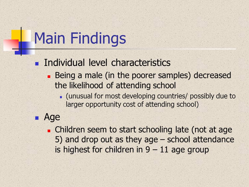 Main Findings Individual level characteristics Age