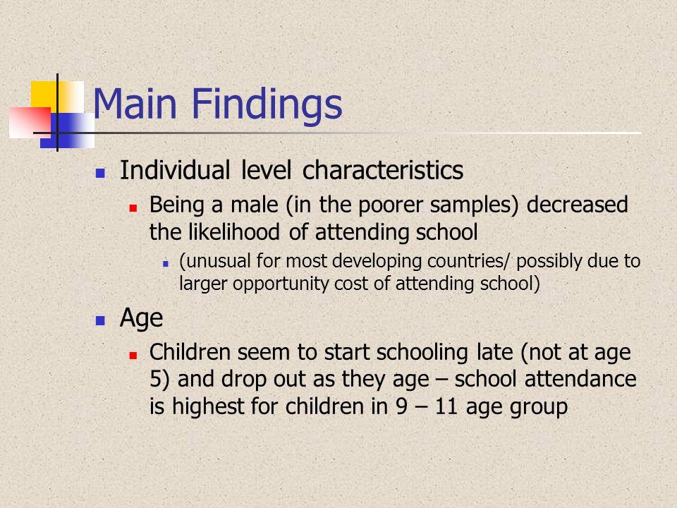 Main Findings Individual level characteristics Age