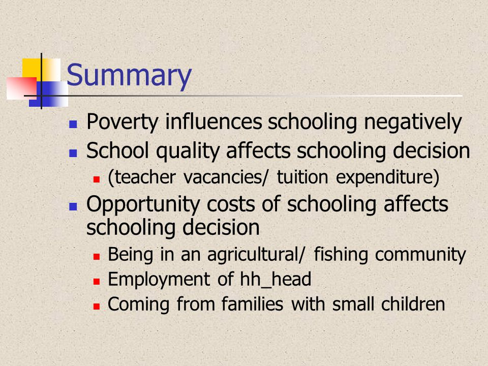 Summary Poverty influences schooling negatively