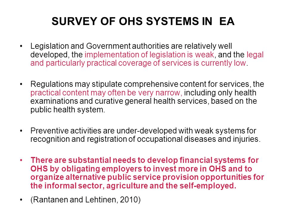 SURVEY OF OHS SYSTEMS IN EA