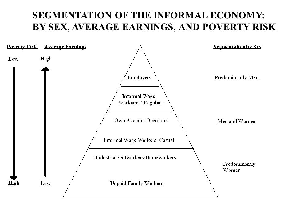SEGMENTATION OF THE INFORMAL ECONOMY: BY SEX, AVERAGE EARNINGS, AND POVERTY RISK