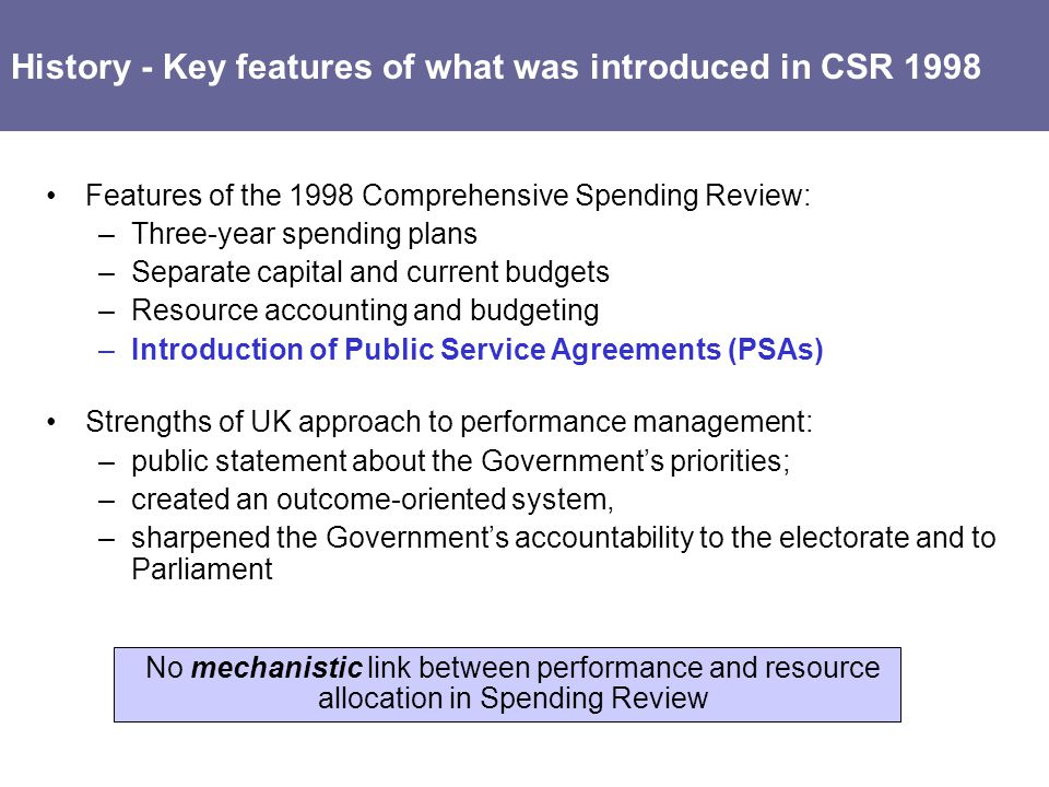 History - Key features of what was introduced in CSR 1998