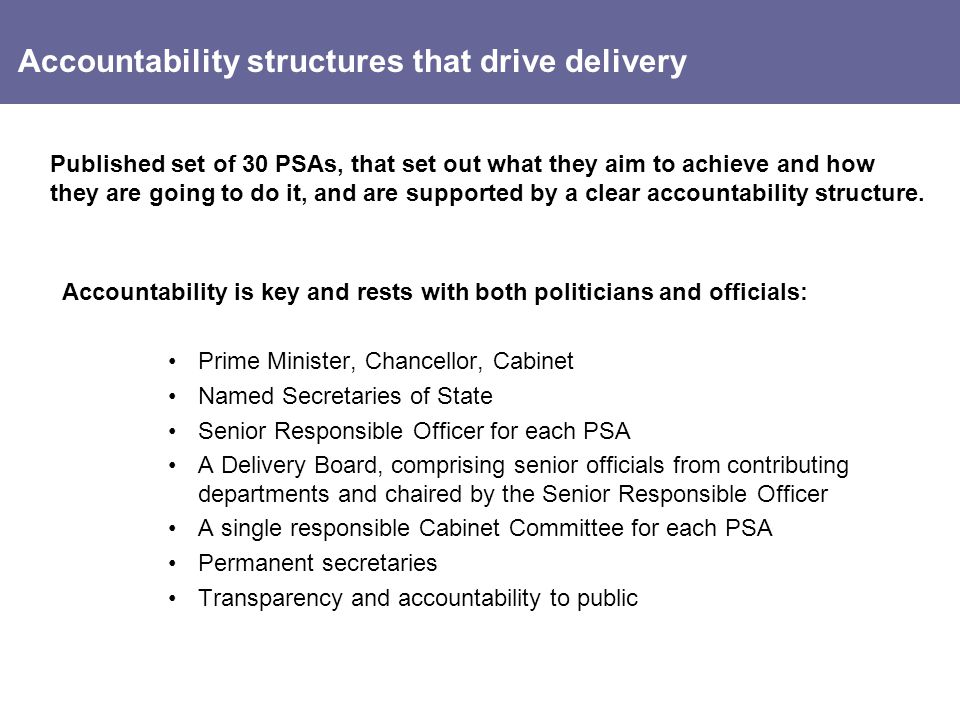 Accountability structures that drive delivery