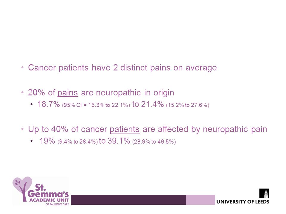 Cancer patients have 2 distinct pains on average