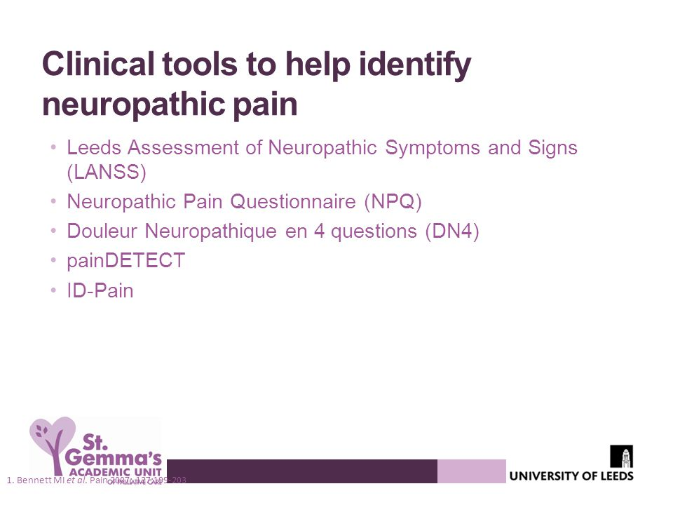 Clinical tools to help identify neuropathic pain