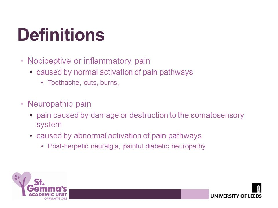 Definitions Nociceptive or inflammatory pain Neuropathic pain