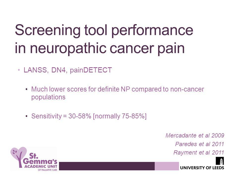Screening tool performance in neuropathic cancer pain