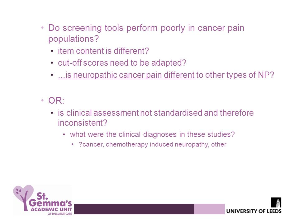 Do screening tools perform poorly in cancer pain populations