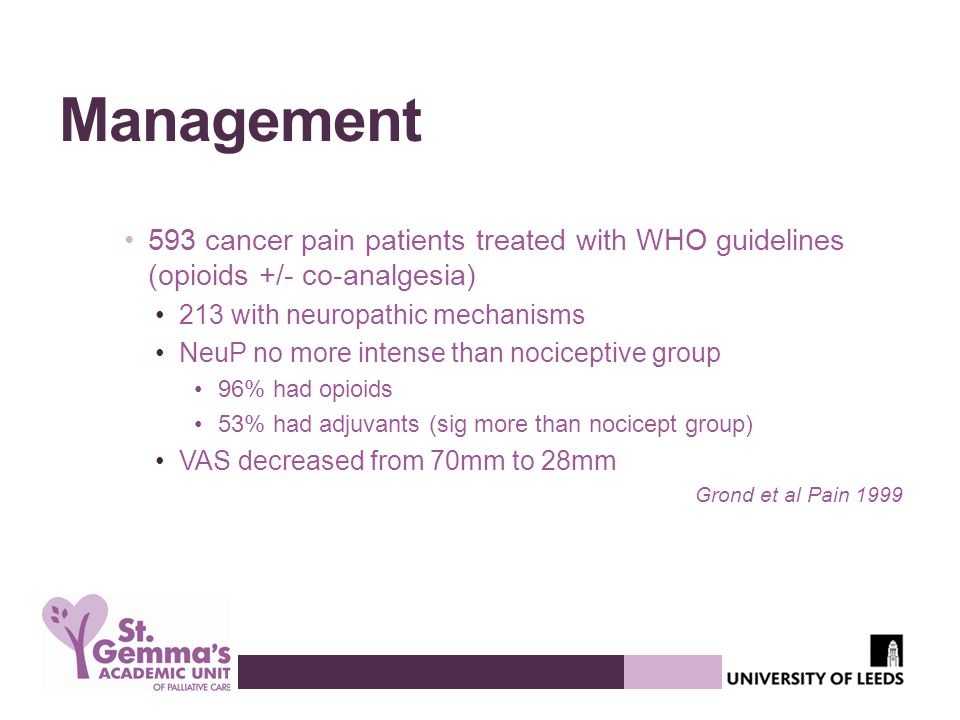 Management 593 cancer pain patients treated with WHO guidelines (opioids +/- co-analgesia) 213 with neuropathic mechanisms.