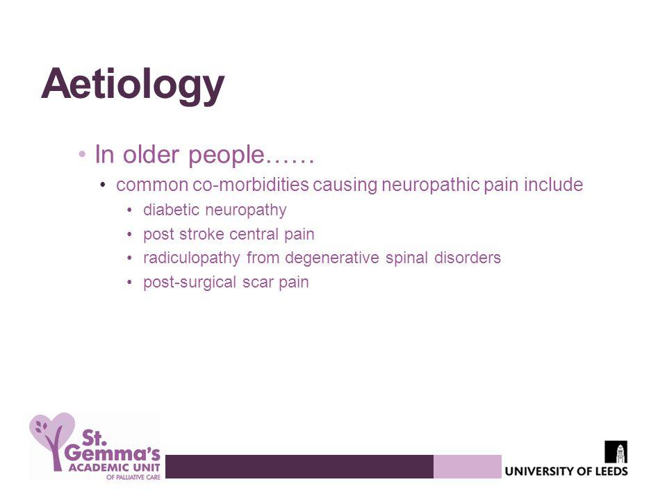 Aetiology In older people……