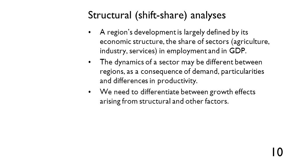 MIX and DIF effects MIX effects are those that arise from the composition of the economy (or the 'mix' of sectors) in the region.