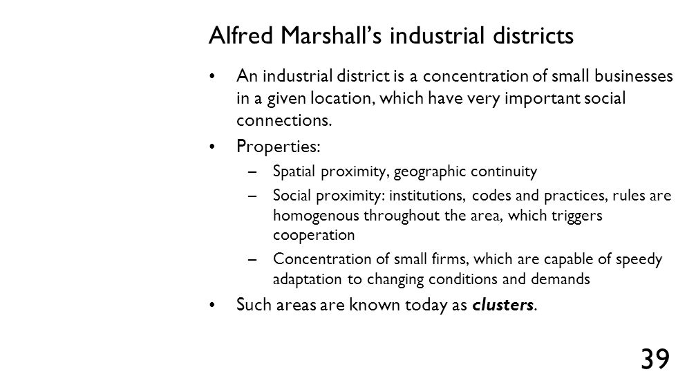 Benefits of district economies