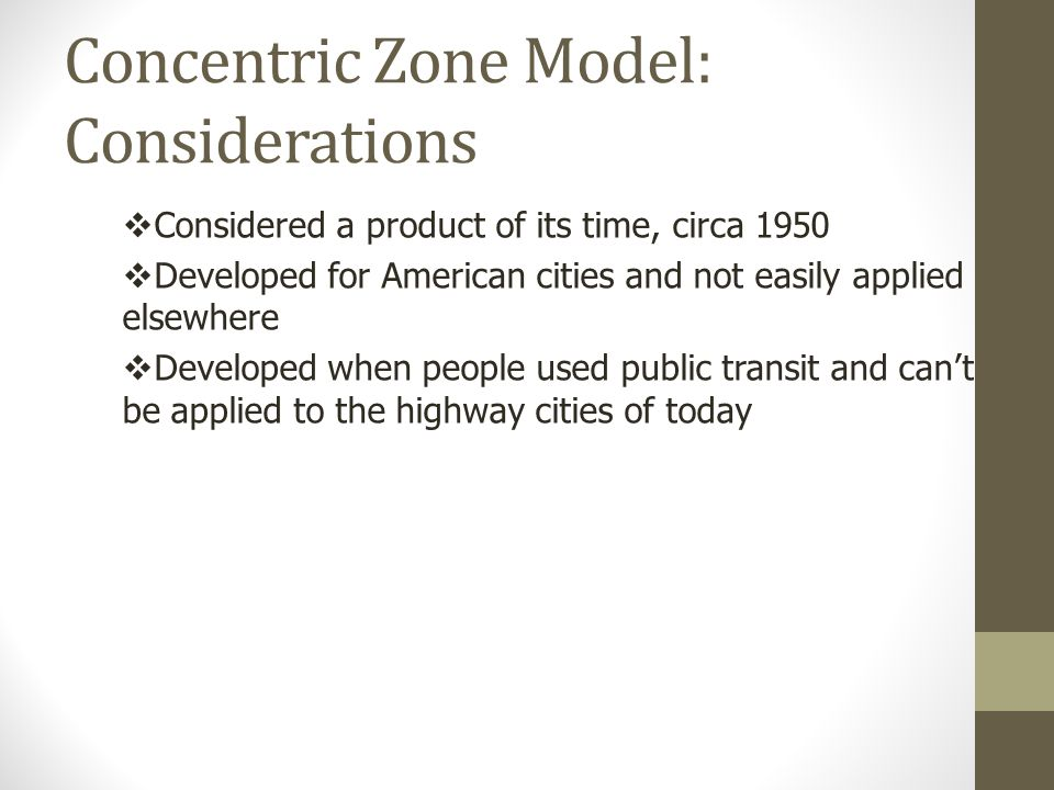 Concentric Zone Model: Considerations