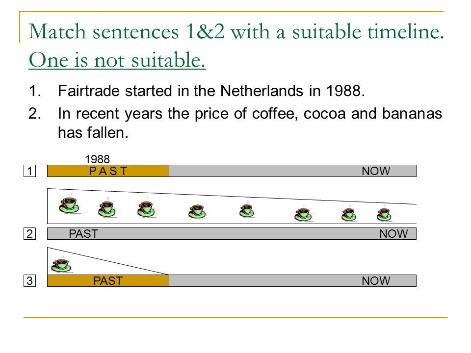 Match sentences 1&2 with a suitable timeline. One is not suitable.