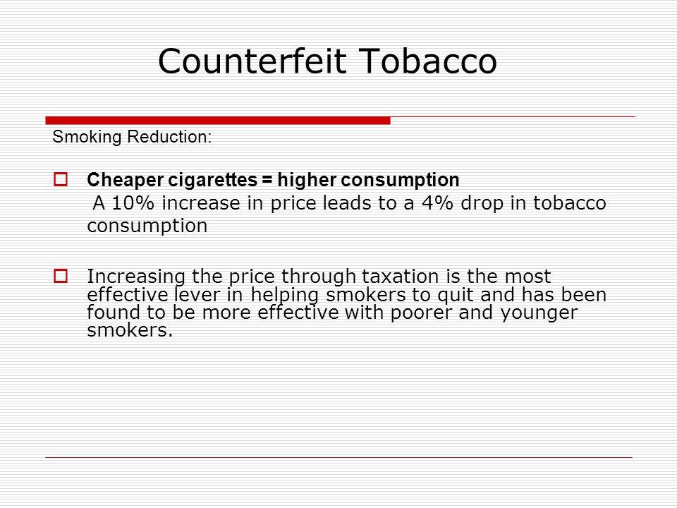 Counterfeit Tobacco Cheaper cigarettes = higher consumption