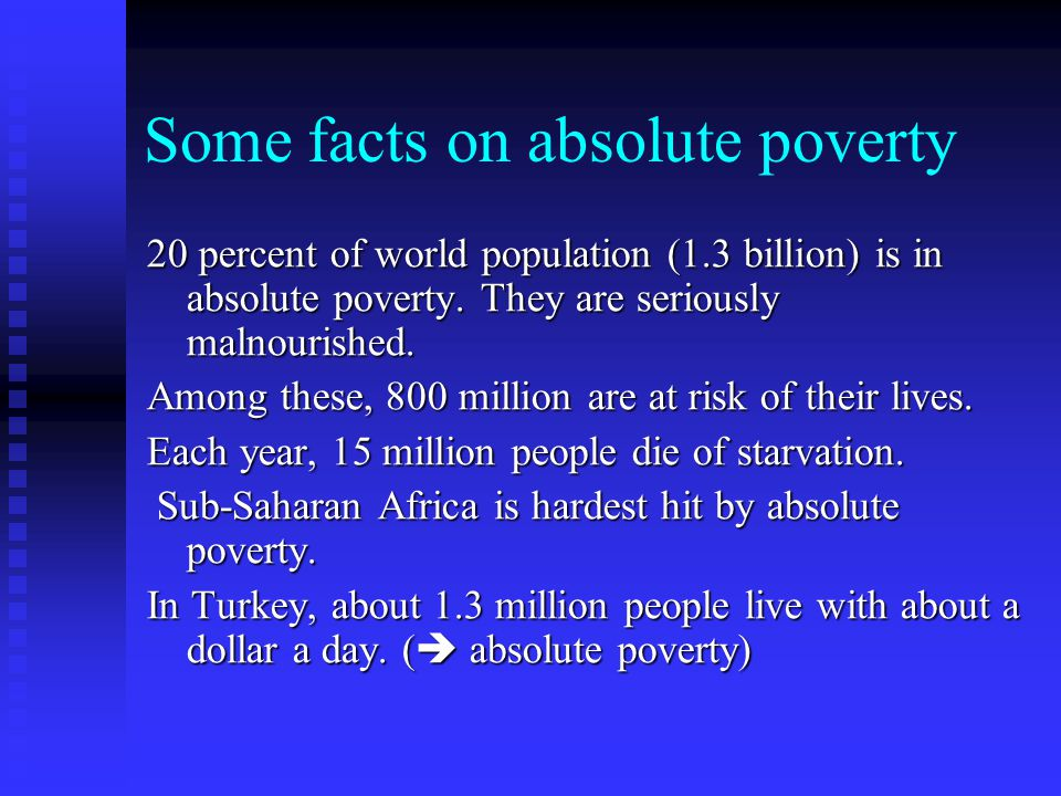 Some facts on absolute poverty