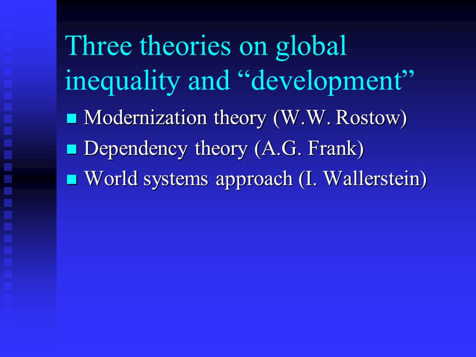 modernisation vs dependency theory Overview modernization theory both attempts to identify the social variables that contribute to social progress and development of societies and seeks to explain the process of social evolutionmodernization theory is subject to criticism originating among socialist and free-market ideologies, world-systems theorists, globalization theorists and dependency theorists among others.