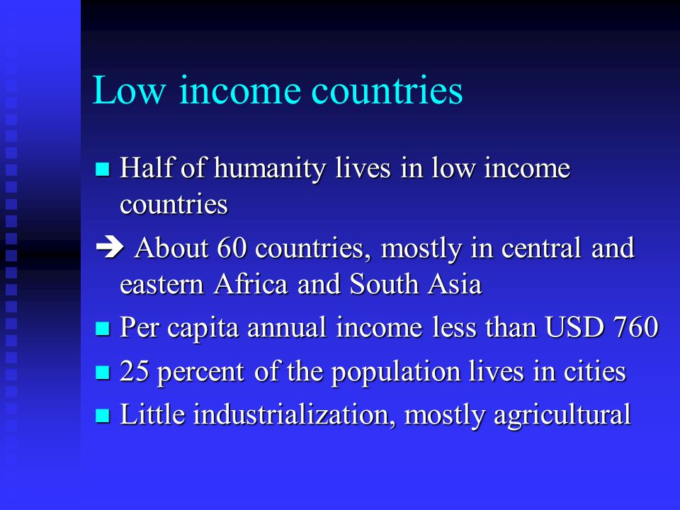 poverty and low income countries By country income group at the time of data collection, the proportion of country-level analyses with a positive association increased with the rising income level, with 59% of low-income, 67% of lower-middle and 72% of upper-middle income countries finding a positive relationship.