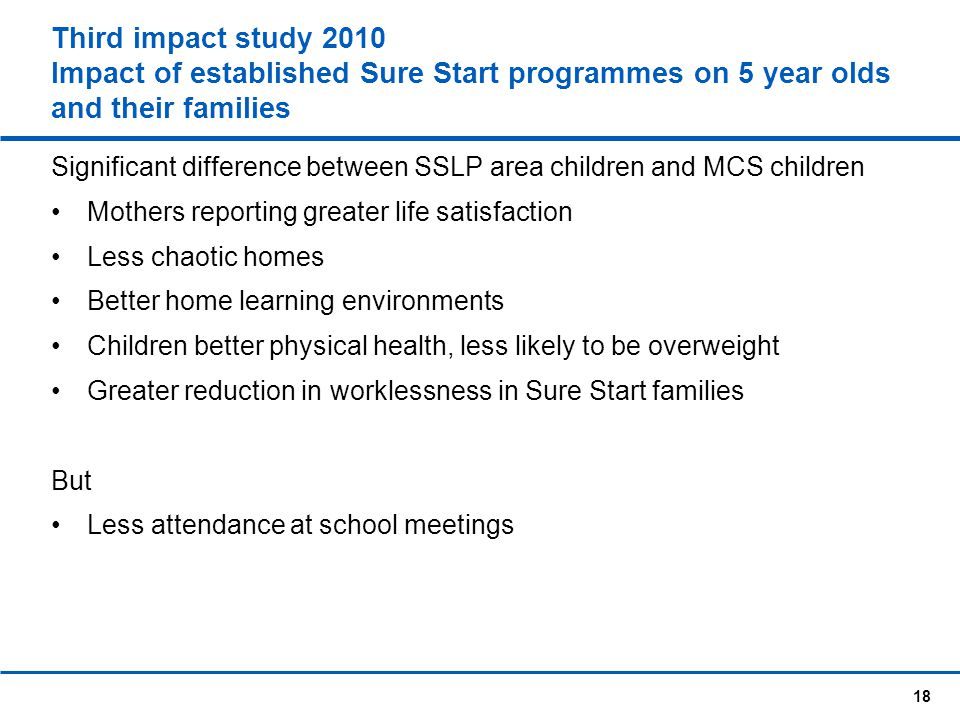 Third impact study 2010 Impact of established Sure Start programmes on 5 year olds and their families