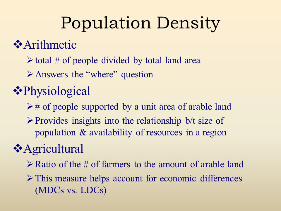 Population Density Arithmetic Physiological Agricultural
