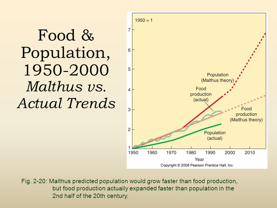 Food & Population, 1950-2000 Malthus vs. Actual Trends