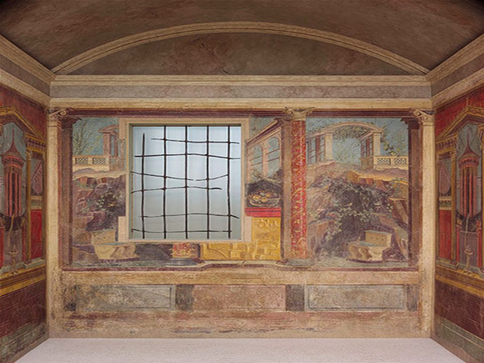 Fresco wall painting in a cubiculum (bedroom) from the Villa of P