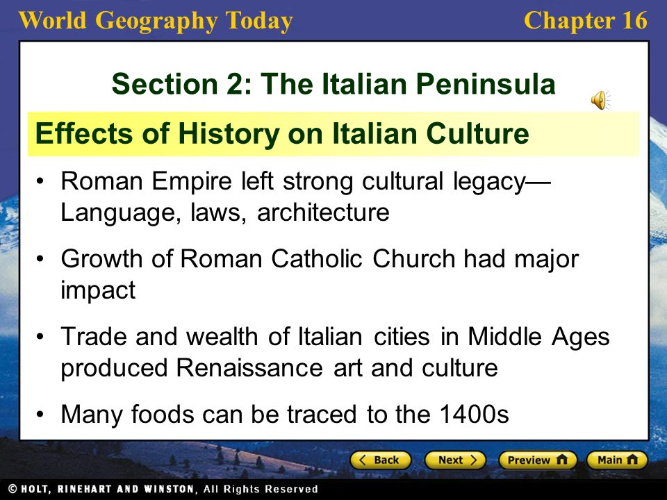Section 2: The Italian Peninsula