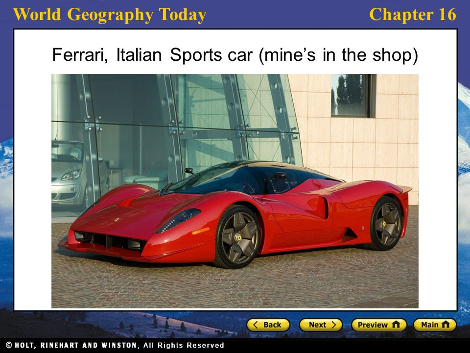 Ferrari, Italian Sports car (mine's in the shop)
