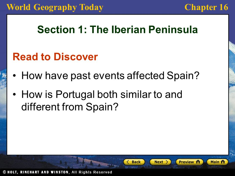 Section 1: The Iberian Peninsula