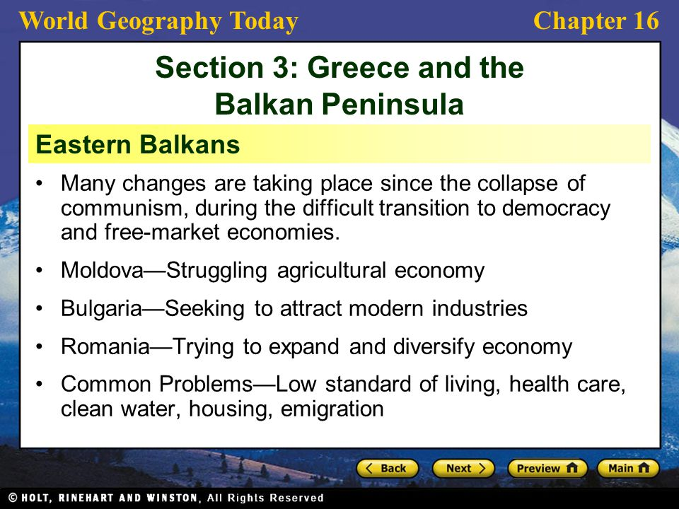 Section 3: Greece and the Balkan Peninsula