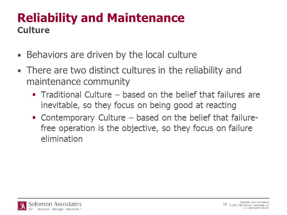 Reliability and Maintenance Culture