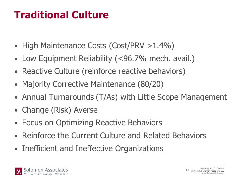 Traditional Culture High Maintenance Costs (Cost/PRV >1.4%)