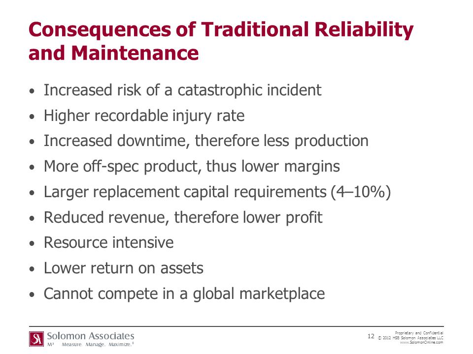 Consequences of Traditional Reliability and Maintenance