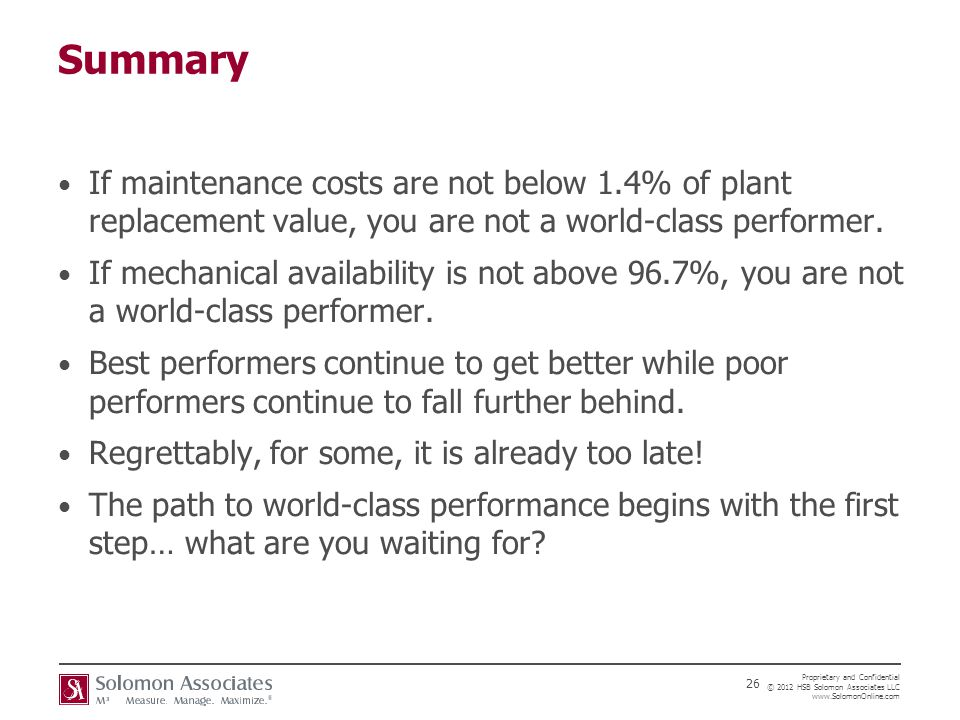 Summary If maintenance costs are not below 1.4% of plant replacement value, you are not a world-class performer.