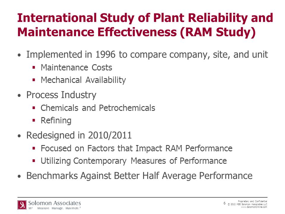 International Study of Plant Reliability and Maintenance Effectiveness (RAM Study)