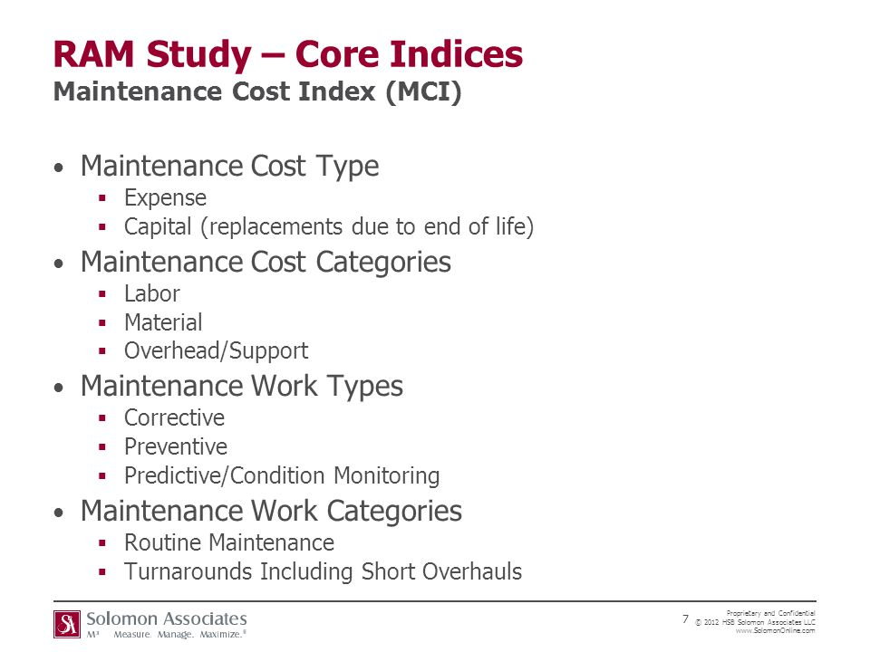 RAM Study – Core Indices Maintenance Cost Index (MCI)