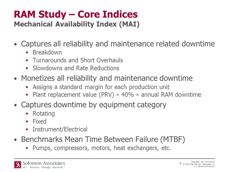 RAM Study – Core Indices Mechanical Availability Index (MAI)