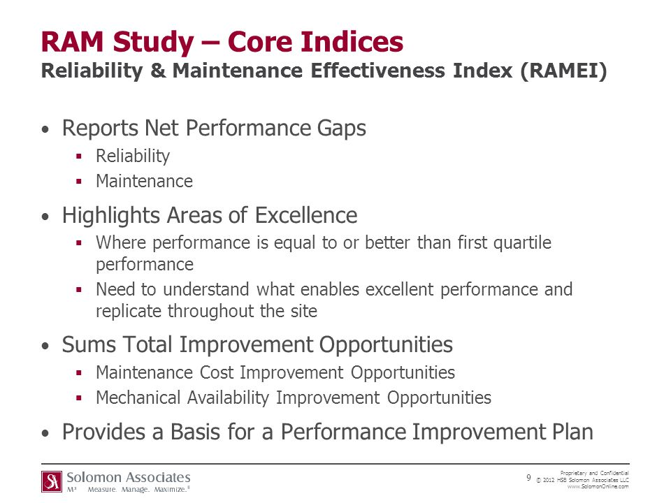 RAM Study – Core Indices Reliability & Maintenance Effectiveness Index (RAMEI)