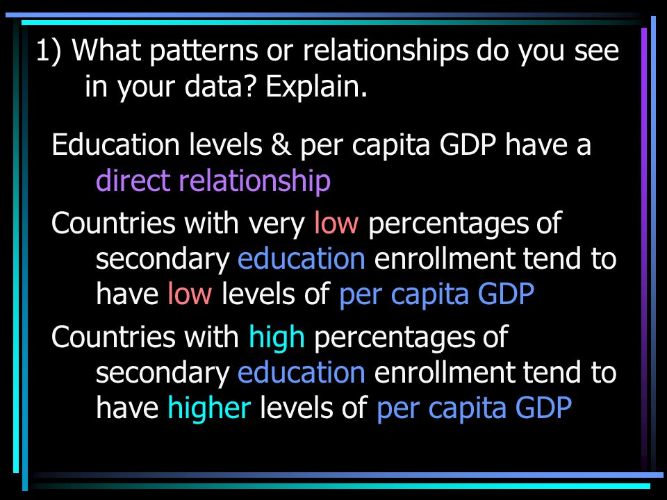 1) What patterns or relationships do you see in your data Explain.
