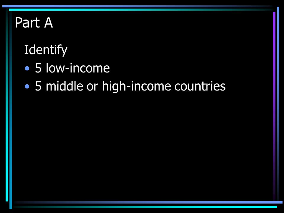Part A Identify 5 low-income 5 middle or high-income countries