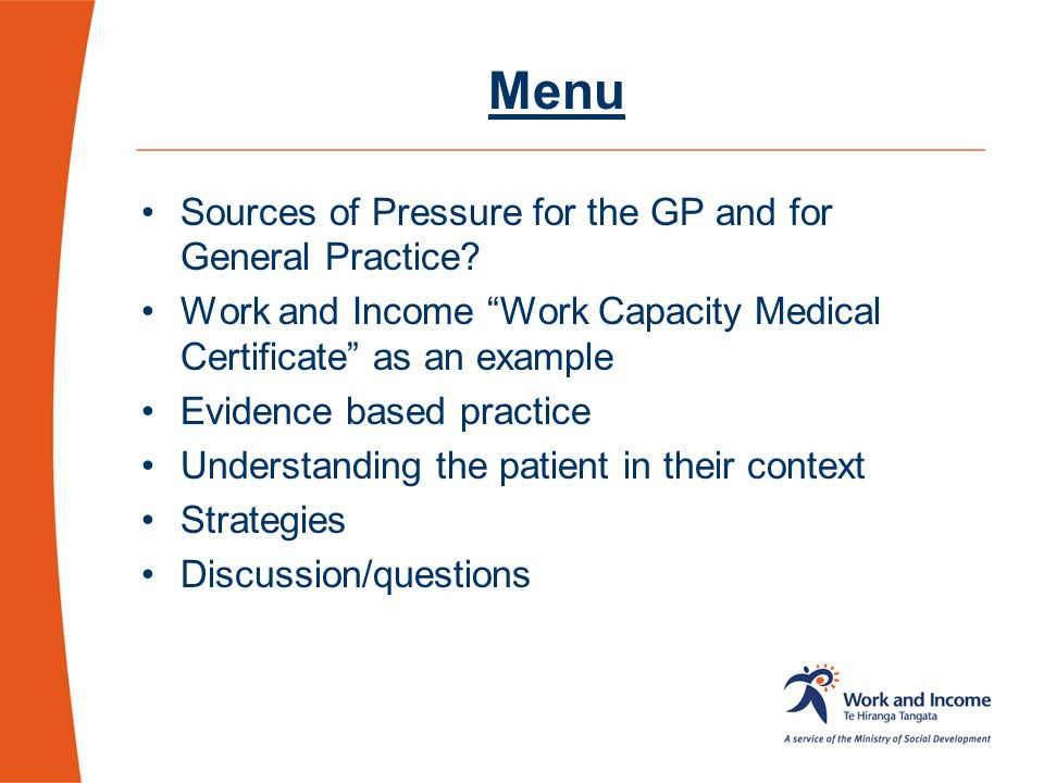 Menu Sources of Pressure for the GP and for General Practice